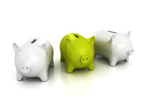 Green piggy bank out from two white Royalty Free Stock Photography