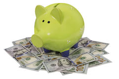 Green piggy bank standing on dollar bills isolated over white Royalty Free Stock Images