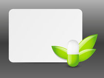 Green pill with empty banner Stock Photo