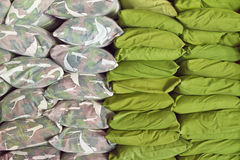 Green pillow bed Stock Photo