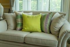 Green pillows on modern sofa Royalty Free Stock Photo