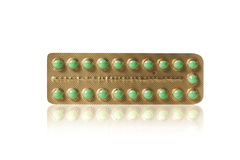 Green pills in a blister Royalty Free Stock Images