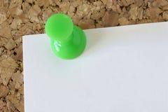 Green pin. In a cork board Stock Image
