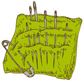Green Pincushion with Safety Pin and Needles Stock Photos