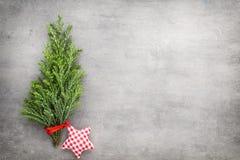 Green pine branch. Christmas decor background. Stock Photo