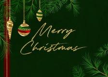 Green Pine Merry Christmas Background vector illustration