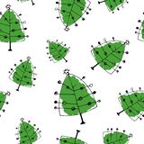 Green pine seamless pattern in doodle style. royalty free stock photo