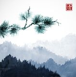 Green pine tree branch and blue mountains with forest trees in fog. Traditional oriental ink painting sumi-e, u-sin, go. Hua. Hieroglyph - eternity Royalty Free Stock Images