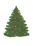 Green pine tree with christmas decorations red beads and colorful balls. Gouache painting. Green pine tree with christmas decorations red beads and colorful stock illustration
