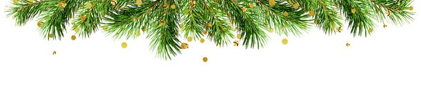Green pine twigs and golden confetti for Christmas top border. Isolated on white background. Flat lay. Top view stock image