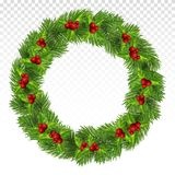 Green pine wreath. Large Christmas wreath with red berries, holly and fir branches. Christmas frame.Festive decorations.Vector. Round New Year`s wreath. Festive royalty free illustration