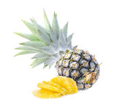 Green pineapple on isolated white background, unripe pineapple o Royalty Free Stock Photography