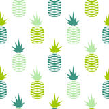 Green pineapple seamless fruit pattern. Royalty Free Stock Photo