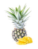 Green pineapple on white background, unripe pineapple  Royalty Free Stock Images
