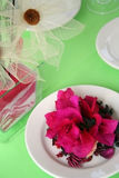 Green and pink. Party table decoration Royalty Free Stock Image
