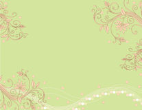 Green Pink Horizontal Illustration. Horizontal illustration of swirls and flowers in pink and green Stock Photography