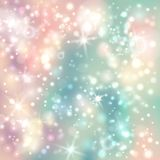 Green and pink abstract glitter background with bokeh defocused. Light and stars. Shiny silver lights Stock Photography