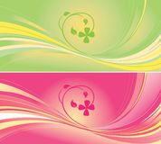 Green and pink backgrounds. Two abstract floral backgrounds in pastel green and pink. Design resembles four-leaf clover vector illustration