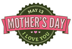 Green Pink Badge May 13 Mother´s Day. Badge to decorate Mothers Day ceremony Stock Photo