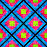 Green and pink on a blue background of the polygons. Seamless geometric pattern.  Royalty Free Stock Photo