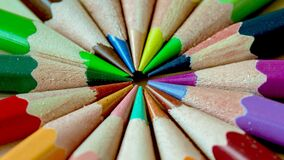 Green Pink Blue Red Yellow Color Pencils Royalty Free Stock Image