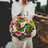 Green and pink bride bouquet. Royalty Free Stock Image
