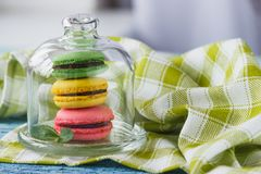 Green, pink, brown and yellow french macarons with mint leaves. Soft focus background Stock Photos