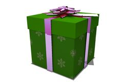 Green and pink christmas gift Stock Photos