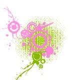 Green pink circles splatters background Stock Photos
