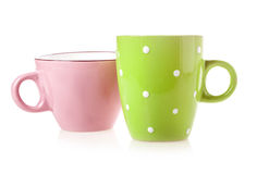 Green and pink coffee cup Royalty Free Stock Images
