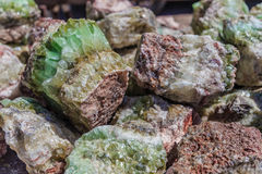 Green and Pink Colored Calcite Stock Images