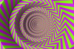 Green and pink concentric circles pattern. Abstract background made of green and pink concentric circles. Concept of creativity and art. 3d rendering stock illustration