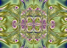 Decorative symmetrical design. Green and pink decorative symmetrical design Royalty Free Stock Photos