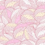 Green and pink doodle floral circles seamless pattern Royalty Free Stock Photo