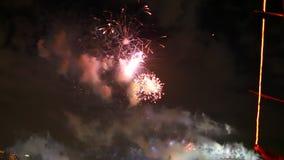 Green Pink Fireworks Sydney stock video