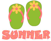 Green, Pink Flip Flops Summer. Illustration of green and pink flip flops with a yellow flower on the toe and the phrase summer for card making, web designing and Stock Image