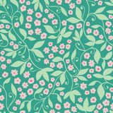 Green pink floral tendril seamless vector pattern background stock illustration