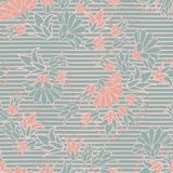 Green Pink Flowers on Stripes Seamless Vector Repeat Pattern stock illustration