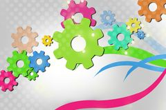 Green and pink gear, abstract background Royalty Free Stock Photos