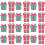 Green and pink gift boxes with bow seamless pattern Stock Image