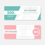 Green pink Gift voucher template with colorful pattern,cute gift voucher certificate coupon design template Stock Photos