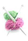 Green and pink  knitting wool Stock Photography