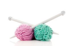 Green and pink  knitting wool Royalty Free Stock Image