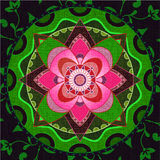 Green and pink mandala vector illustration