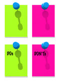 Green and pink notes with pins Stock Photos
