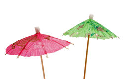 Green and pink paper umbrella Stock Photo