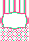 Green Pink Polka Dots greeting card Royalty Free Stock Images