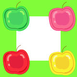 Green pink red yellow apples. Four apple green pink red yellow located on the square Royalty Free Stock Images