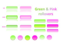 Green and pink rollovers Royalty Free Stock Photography