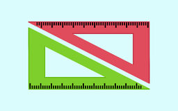 Green and pink rulers Icon. Vector design Stock Photos